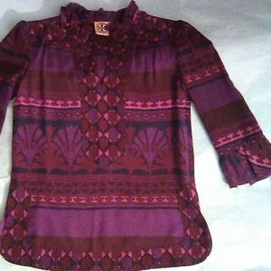 Tory Burch Plum Purple Silk Top Size